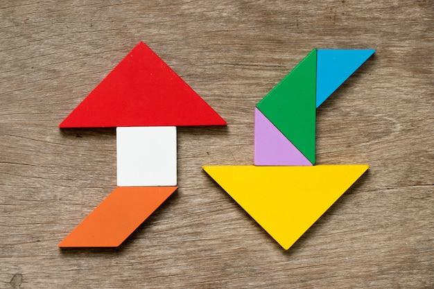 Quebra-cabeça tangram colorido