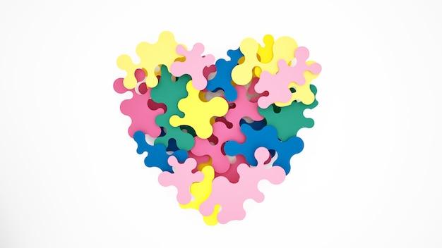 Quebra-cabeças coloridos combinam para formar corações