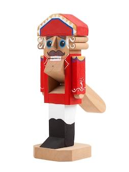 Quebra-nozes. brinquedo de natal de madeira isolado no fundo branco