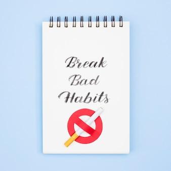 Quebrar o conceito de maus hábitos com cigarro