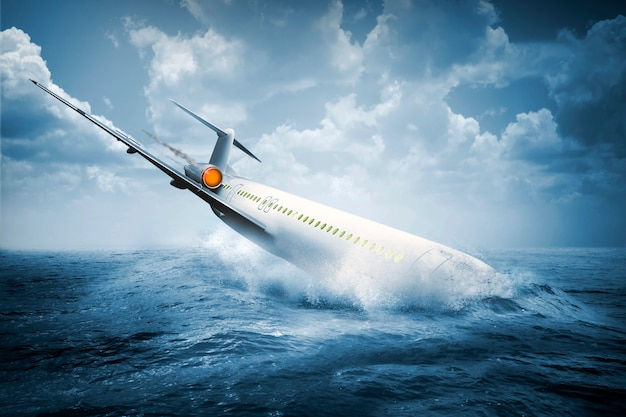 Queda de acidente de avião batendo na água