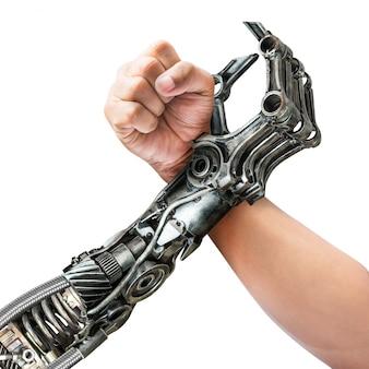 Queda de braço de humanos e robôs