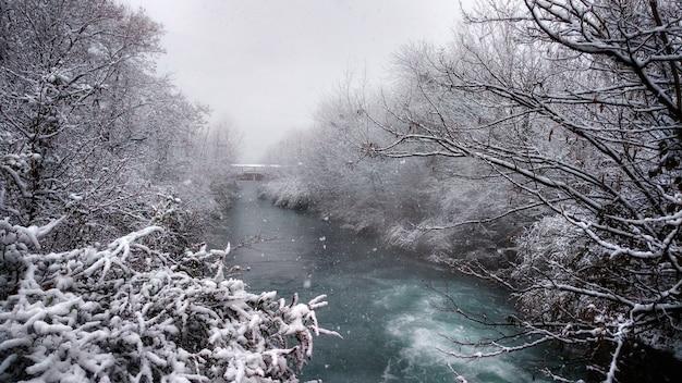 Queda de neve em um rio de montanha na floresta