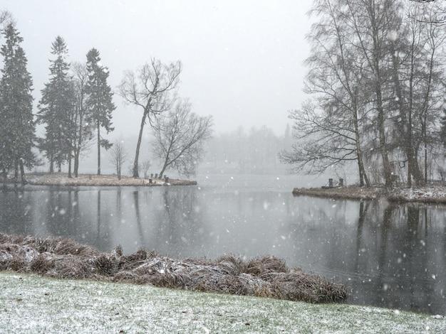 Queda de neve no parque da cidade de inverno.