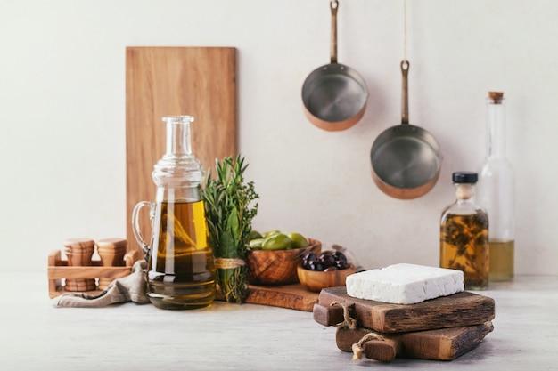 Queijo de feta de cabra de aperitivo grego tradicional