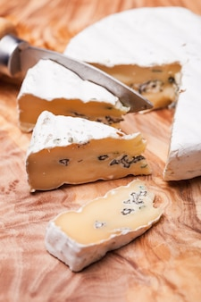 Queijo de pasta mole com veios de mofo azul e pele firme e branca. dois tipos de molde em dueto de queijo