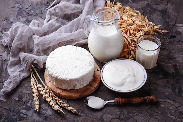Queijo tzfat, leite e grãos de trigo. símbolos do feriado judaico shavuot. foco seletivo