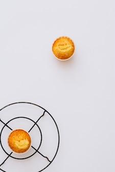 Queques de laranja caseiros de minimalismo plana leigos