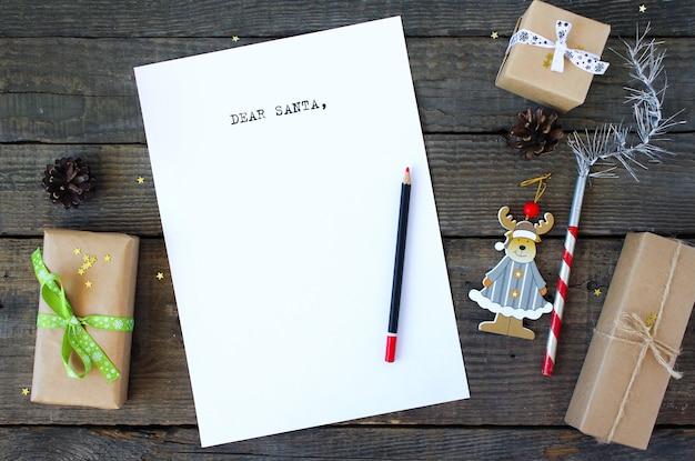 Querida carta de papai noel para o natal