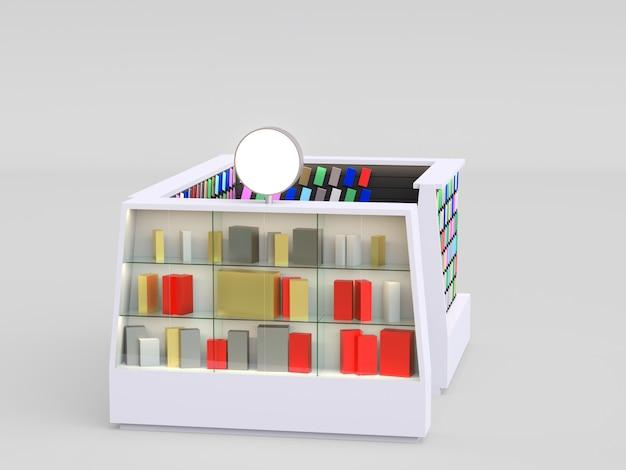 Quiosque de acessórios para smartphone que vende capas de telefone e outros itens de smartphone dentro de um shopping.