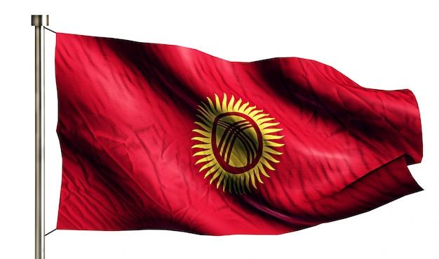 Quirguistão bandeira nacional isolada 3d fundo branco