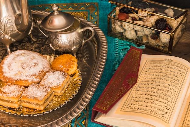 Quran aberto perto de conjunto de chá e doces