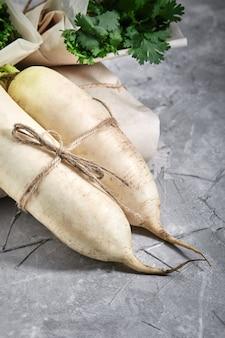 Rabanete branco, produtos orgânicos