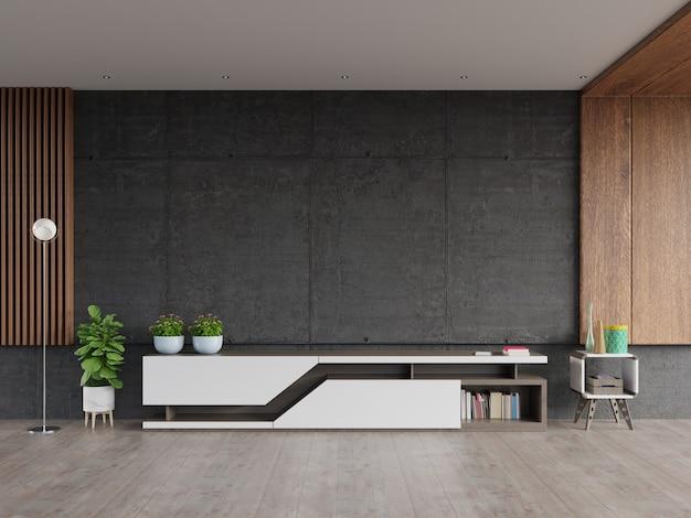 Rack de argamassa tv com parede de tela de cimento na parede da moderna sala de estar.