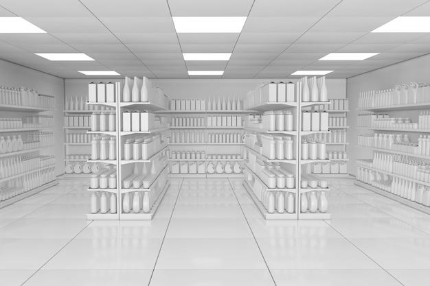 Rack de prateleiras de mercado com produtos em branco ou mercadorias em estilo de argila como closeup extrema interior de supermercado. renderização 3d.