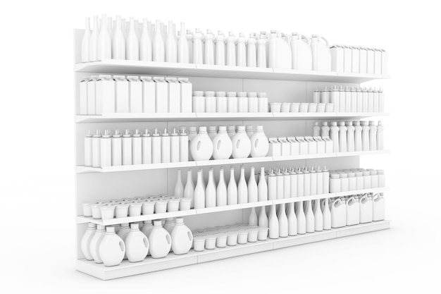 Rack de prateleiras de supermercado com produtos em branco ou mercadorias em estilo clay em um fundo branco. renderização 3d.