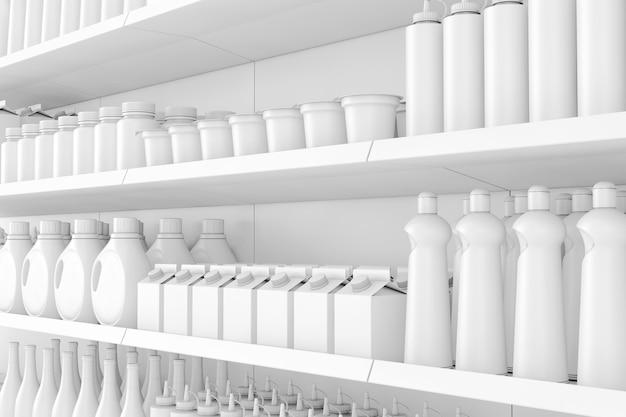 Rack de prateleiras de supermercado com produtos em branco ou mercadorias em estilo de argila closeup extrema. renderização 3d.