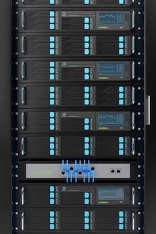 Rack do servidor do computador close-up.