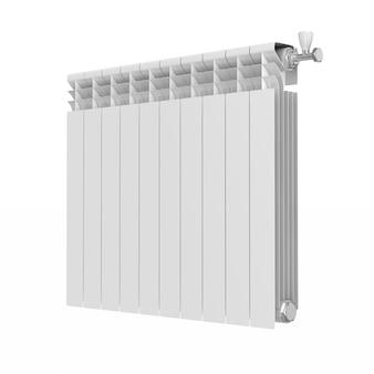 Radiador de aquecimento em fundo branco. ilustração 3d isolada