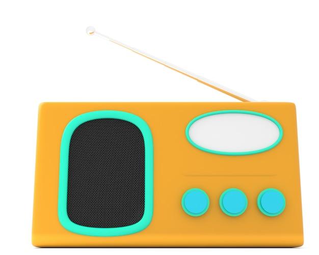 Rádio estilo cartoon isolado no fundo branco