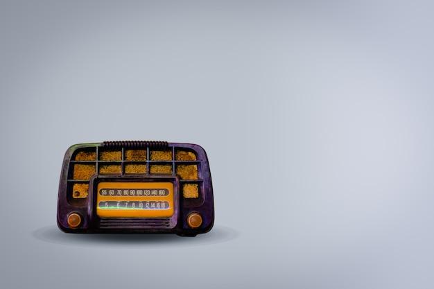 Rádio retro velho no fundo branco. este é o rádio vintage para ouvir música.
