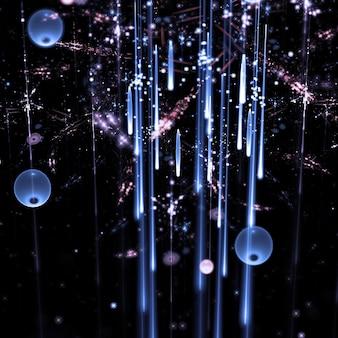 Raias claras abstratas com esfera ilustração 3d