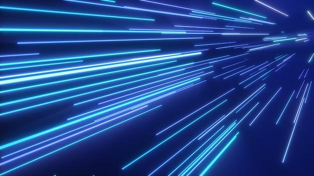 Raias de luz azul rosa neon