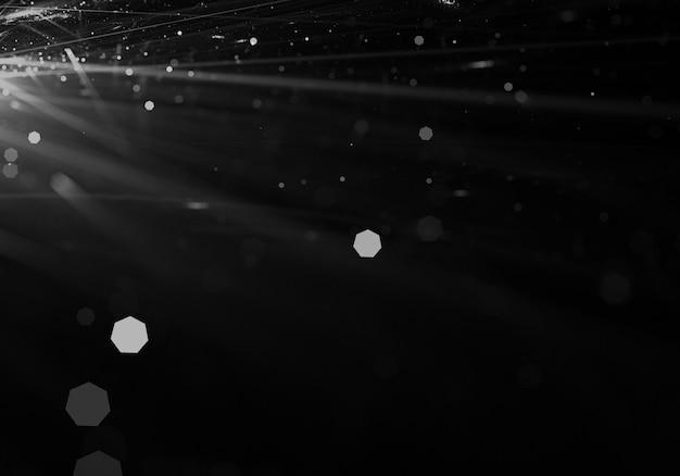Raias de luz branca com efeito bokeh