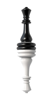 Rainha do xadrez preto e branco virada de cabeça para baixo. isolado em um fundo branco. ilustração 3d.
