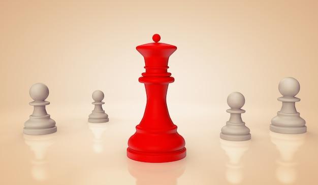 Rainha do xadrez vermelho com peões em um fundo branco