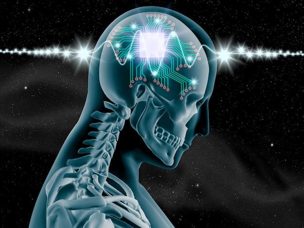 Raio x 3d do cérebro humano com chip de computador e circuito