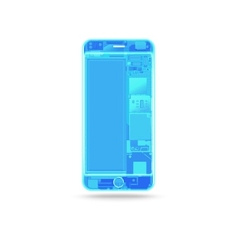Raio x em branco telefone azul, isolado