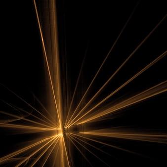 Raios de luz dourados no fundo preto