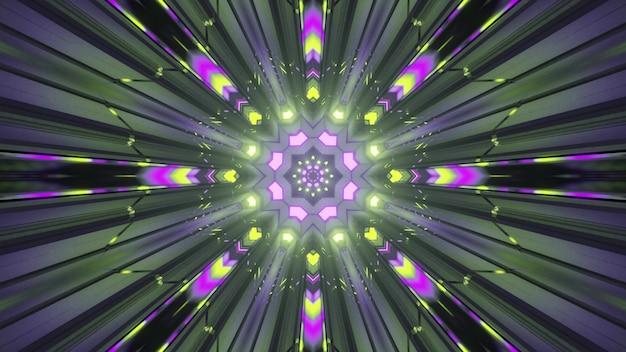 Raios de néon coloridos brilhantes com traços de luz criando ilusão ótica de efeito de movimento através de um túnel de ficção científica fantástico como fundo visual de arte abstrata na ilustração 4k uhd 3d
