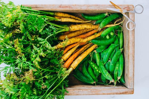 Raízes frescas sujas legumes cenouras, beterrabas e ervilhas em caixa de madeira em fundo de mármore