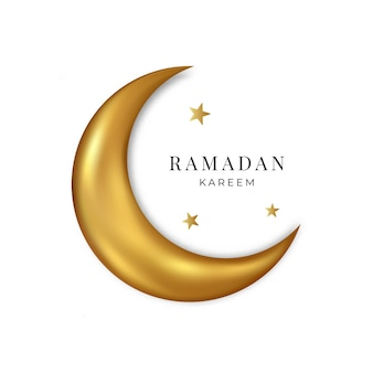 Ramadan kareem. lua 3d de ouro e estrelas isoladas no fundo branco. vetor.