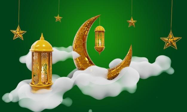 Ramadan kareem mubarak 3d verde fundo