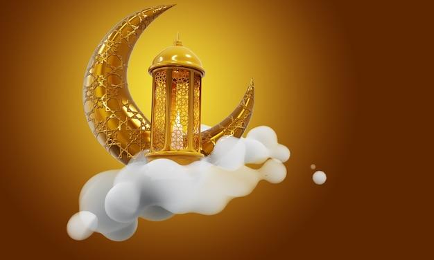 Ramadan kareem mubarak fundo dourado 3d