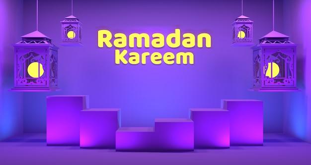Ramadan lanterna fundo renderização em 3d