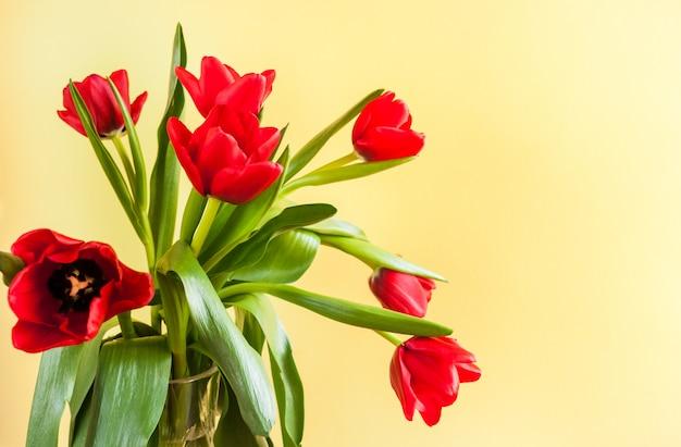 Ramalhete de tulipas vermelhas em fundo amarelo com espaço da cópia.