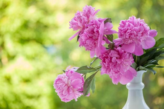 Ramalhete rosa pálido bonito das peônias no vaso branco sobre o fundo do verde da natureza.