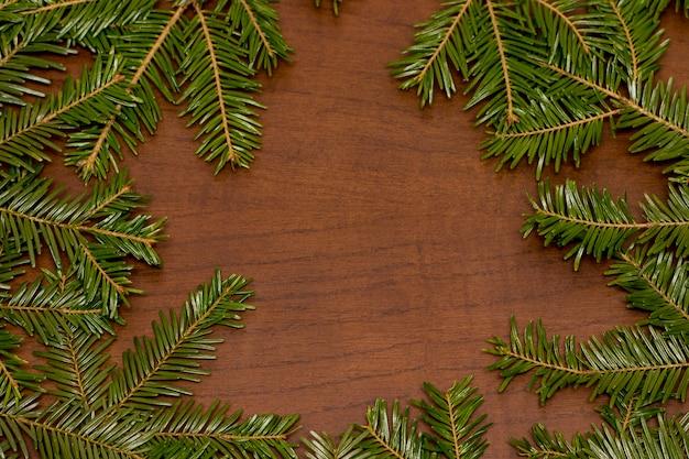 Ramo de abeto vermelho pinheiro verde sobre fundo de madeira