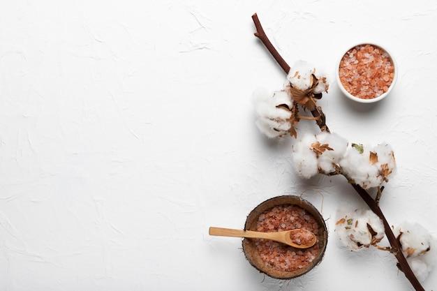 Ramo de algodão e tigelas com sal natural
