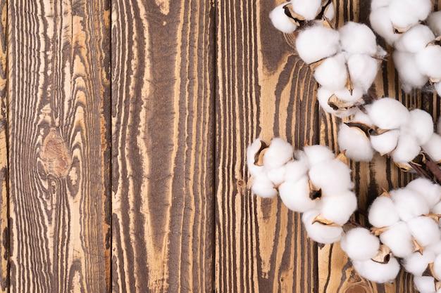 Ramo de algodão macio em uma mesa de madeira com espaço de cópia para texto, camada plana de alta resolução