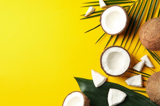 Ramo de coco e palm em amarelo. fruta tropical