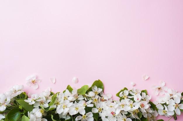 Ramo de floração de primavera em rosa