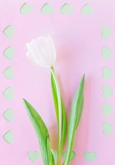 Ramo de tulipa branca com corações cortadas em papel