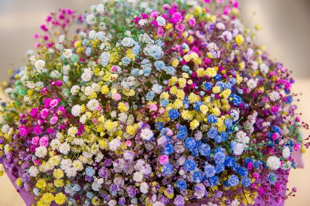 Ramo multicolorido de flores de gipsófila