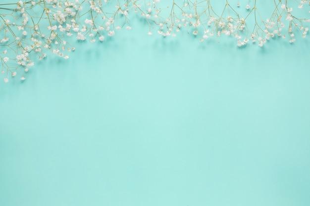 Ramos de flores espalhadas na mesa azul