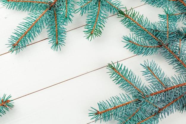 Ramos de pinheiro do natal na placa de madeira.